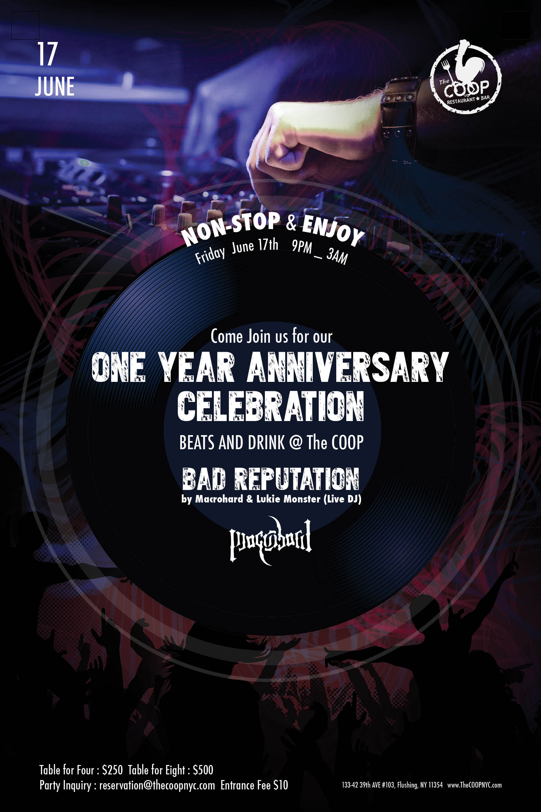 One Year Anniversary Celebration Live Dj Party The Coop